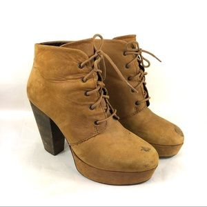 Steve Madden raspy suede leather heeled booties 8